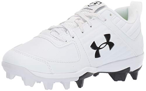 Under Armour Boys' Leadoff Low RM Jr. Baseball Shoe, White (100)/Black, 6 Big Kid(8-12 Years)