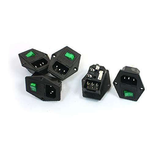 X-DREE 5 Unids Lámpara Piloto Verde 3P Interruptor Basculante Portafusibles IEC320 C14 Inlet Power Socket (5pcs vert lampe témoin 3p interrupteur à bascule porte-fusible IEC320 C14 prise de courant