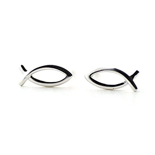 iszie Schmuck Sterling Silber Kleine Fische Form Damen oder Girl Fashion Ohrring