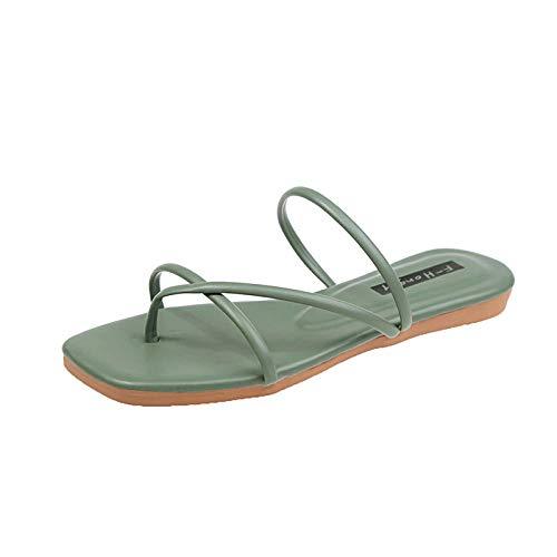 Anlemi Sandalia clásica y cómoda,Zapatillas de Clavija de Manga Plana, Use Zapatos de Playa Zapatillas de una Palabra-Verde_38,Zapatillas de Verano de tacón Plano y cómodas