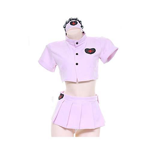XJTJSM Juego de Uniformes de Traje de Marinero de la Enfermera Rosa, Cosplay Sexy Lolita Malla privada camisón, Tops de Estudiante Falda con KC Diadema Interior Ropa Interior