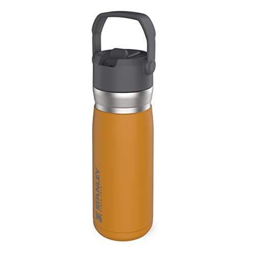 Stanley IceFlow Flip Straw Water Bottle 0.65L / 22OZ Azafrán – Anti-Fugas - Botella de Agua de Acero Inoxidable con pajita plegable - Sin BPA - Fácil de Llevar - Apta Para Lavavajillas