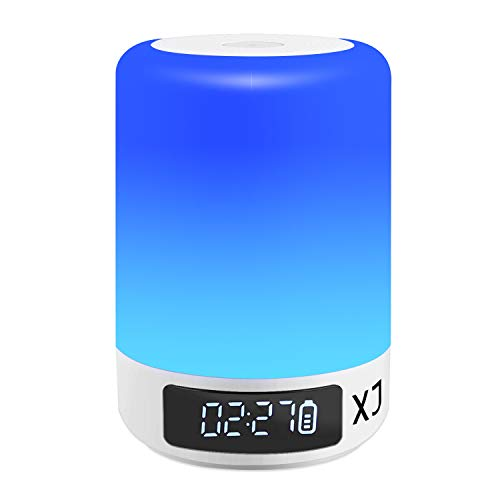Xian Ju Nachttischlampe Mit Bluetooth Lautsprecher, Nachtleuchte LED Nachtlampe Schlummerleuchte Stimmungslicht Mit 7 Farbwechsel Touch Control Nachttischlampe Für Camping, Romantische Geschenke