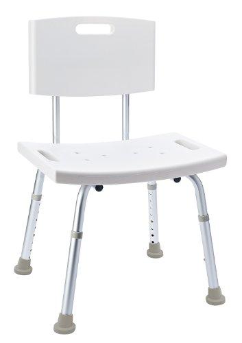 RIDDER Assistent A00602101 Badezimmer-Stuhl mit Rückenlehne, Hocker, höhenverstellbar, weiß