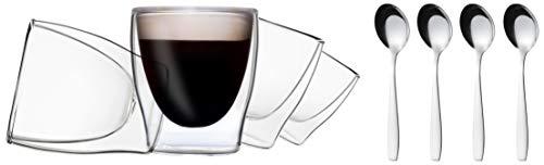 DUOS 4X 80ml doppelwandige Gläser + 4X Edelstahl-Löffel - Set Thermogläser mit Schwebe-Effekt, auch für Espresso, Liköre, Grappa, Schnaps, Shot-Drinks geeignet, by Feelino