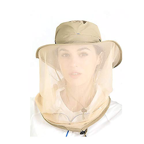 ZSJZSJ Mosquito Head Net Hat mesh Safari Hiking Fishing face Hats Sun Bucket Hats Neck Flap and Hidden Net from Bug Fly Insect for Men or Women Protection Outdoor,Brown