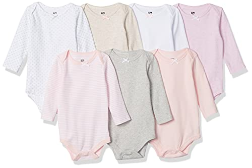 Hudson Baby Unisex Baby Cotton Long-sleeve Bodysuits, Girl Basic, 0-3 Months US