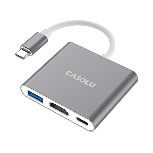 CASOLU USB C/Type C to HDMI Adapter, Thumderbolt 3 to HDMI 4K Adapter, USB-C Digital AV Multiport Adapter for Mac/ MacBook/iPad Pro/ S20/S10+/Projector with USB 3.0 Port and PD Quick Charging Port