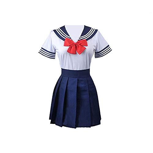 BellaPunk Damen JK Uniform Kleid Anime Sailor Cosplay Dress Kostüm Full Set School Uniform Suits (Marine, m)