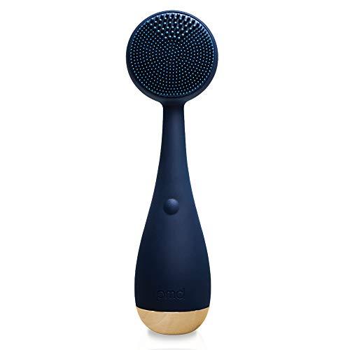 PMD Clean - Dispositivo de limpieza facial con cepillo de silicona y masajeador antienvejecimiento-Resistente al agua-Tecnología de vibración SonicGlow-Estira la piel del rostro y cuerpo-Azul marino