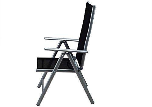 Deuba Sitzgruppe Bern 6+1 Aluminium 7-Fach verstellbare Hochlehner Stühle Tisch mit Sicherheitsglas Silber Garten Set - 2