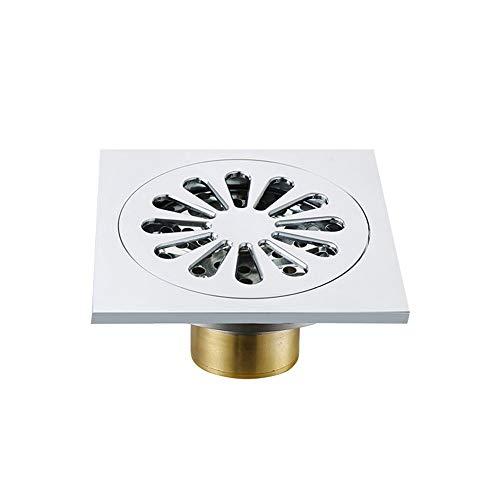 Vobajf Bodenablauf Copper Boden quadratische Dusche Spüle Großer Fluss Insect Control Anti-Wasser Deodorant Bodenablauf for Küche ablassen Feste Duschköpfe (Farbe : Grau, Size : 10 x 10 x 5 cm)