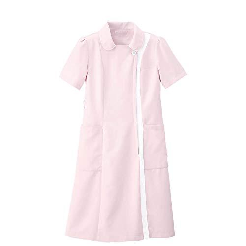 ナースリー マシュマロツイル バイカラーワンピース ナース 看護師用 女性用 白衣 エステ 美容 受付 制服 透けにくい 防シワ 抗菌 防臭 吸汗 速乾 LL ピンク×ホワイト 9199402A