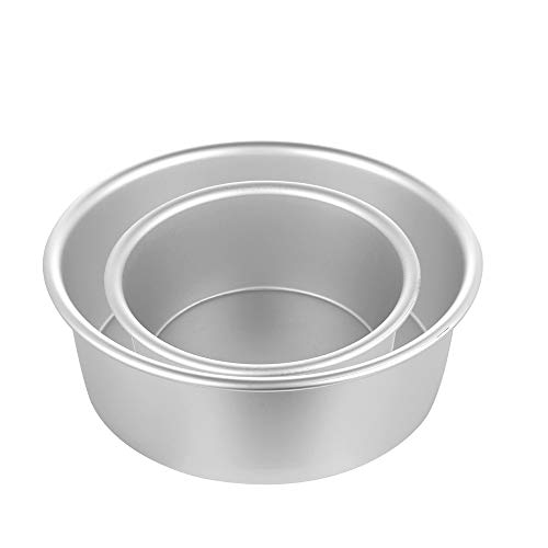 Round Cake Pan, Premium Aluminum Pans Baking Tier Cake Pans Bakeware, 4/6inch, Dishwasher Safe Easy Clean (1 set (4 in and 6 in))