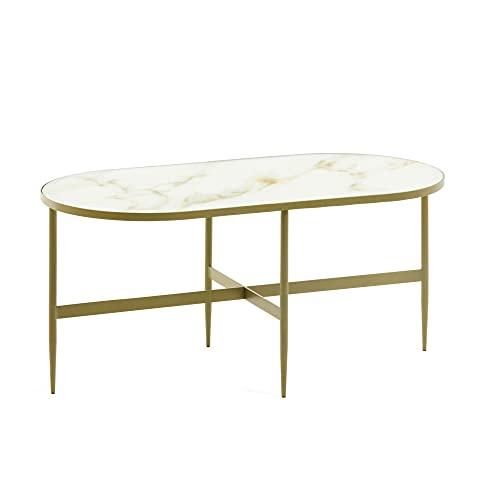 Kave Home - Mesa de Centro Elisenda Oval 100 x 50 cm de Cristal Efecto mármol y Estructura de Acero en Dorado