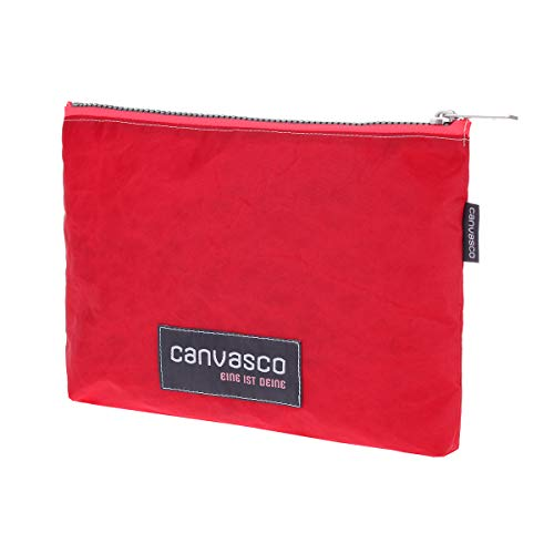 Federmappe CANVASCO Stuff/Tasche rot/Reißverschluss pink