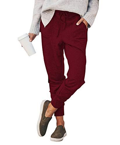 Eledobby Pantalones Deportivos para Mujer, Pantalones de Chándal Informales con Bolsillos, Pantalones de Tubo para Mujer, Pantalones Deportivos de Cintura Alta, Color Sólido, Rojo Vino 2XL