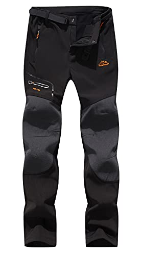 DAFENGEA Women's Snow Ski Pants Fleece Hiking Waterproof Windproof Softshell Outdoor Snowboard Pants,CFK1812W-Black-M