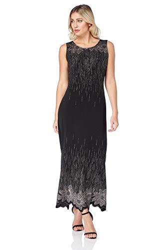 Roman Originals dames mouwloze maxi-jurk met glitter in zwart