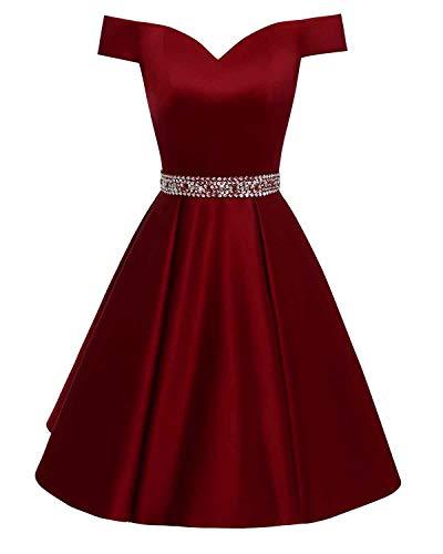 Changuan Women's Short Beaded Prom Dresses Off The Shoulder Backless Homecoming Dress Burgundy-16