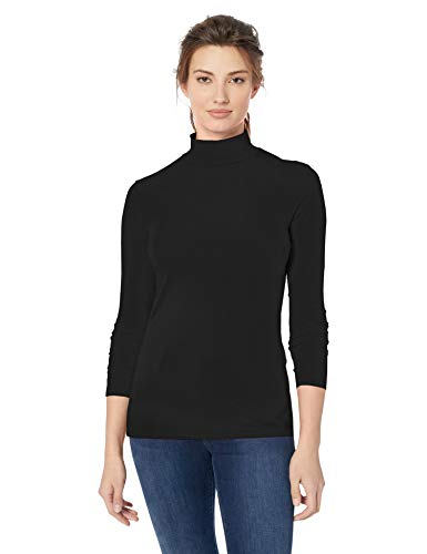 Amazon Essentials - Camiseta de manga larga, cuello alto y corte clásico para mujer, Negro (Black), US L (EU L - XL)