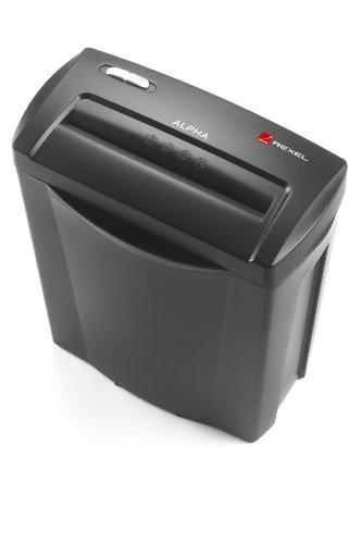 Rexel Alpha 2102023EU Aktenvernichter (für Zuhause/Kleinbüros, Partikelschnitt, Manueller Einzug, 14L Abfallbehälter, 5 Blatt Kapazität) schwarz