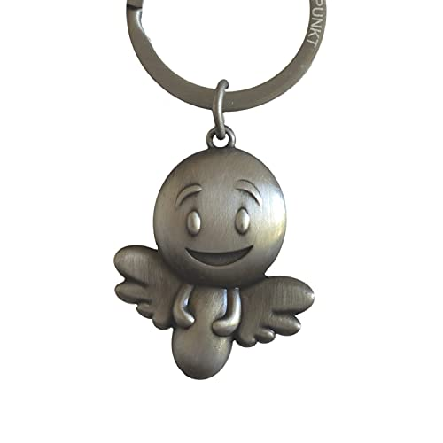 ANKERPUNKT Llavero de ángel 'Smiley' – Ángel de la guarda para mamá, papá, abuela, abuelo – dulce amuleto de la suerte para toda la familia – plata vintage