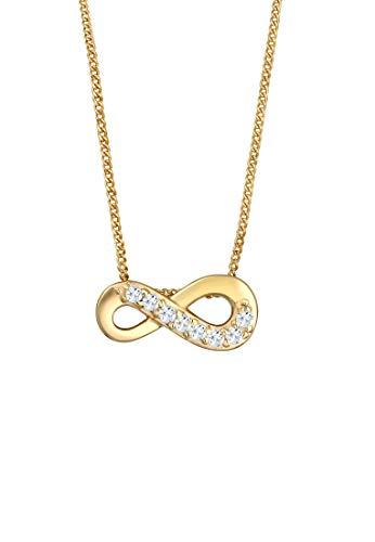 Elli PREMIUM Halskette Damen Infinity Unendlich Liebe Topas in 585 Gelbgold