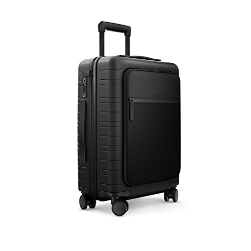 HORIZN STUDIOS M5 Cabin Luggage (33 L) with an Integrated, Removable Smart Charger and inbuilt Compression Pad. for Trips 2-3 Days. (All Black)