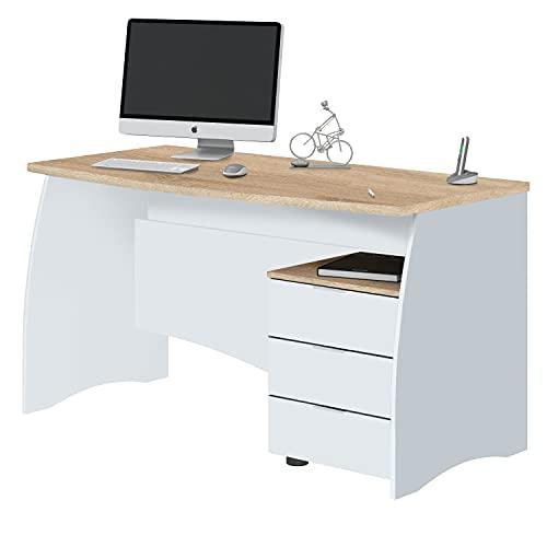 Mesa de Despacho con 3 Cajones, Mesa de Oficina o Estudio, Modelo Stil, Acabado en Balnco Artik y Roble Canadian, Medidas: 136 cm (Ancho) x 67 cm (Fondo) x 74 cm (Alto)