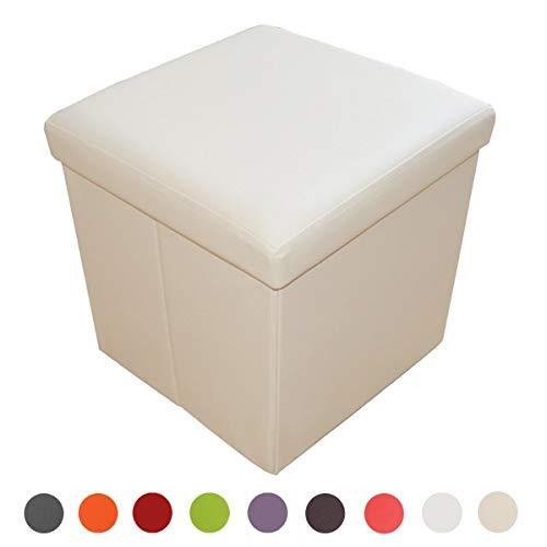 Style home Sitzhocker Sitzbank Aufbewahrungsbox mit Stauraum Faltbarer Sitzwürfel belastbar bis 300 kg Kunstleder 38 x 38 x 38 cm (gebrochen Weiß)
