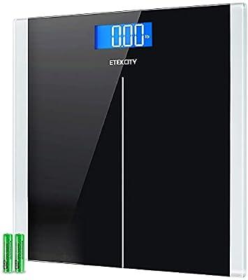 Etekcity - Báscula digital para baño con tecnología Step-On, 181 kilos, cinta métrica corporal incluida.