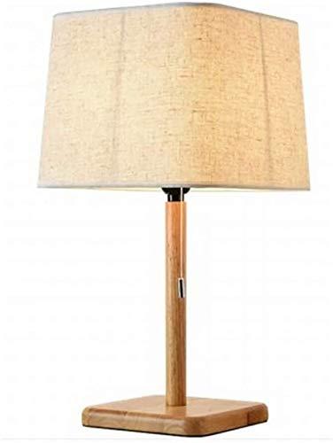 FHUA Lámpara Escritorio Lámpara de cabecera de Dormitorio de Madera Minimalista Moderna lámpara de Mesa de Interruptor de tracción de Tela LED de investigación de Madera Maciza 26 * 49 cm