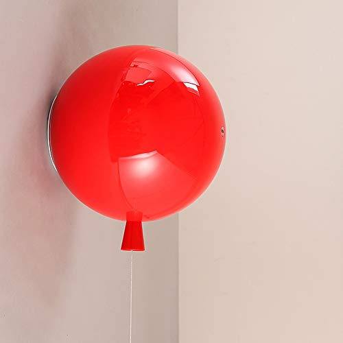 LED Acryl wandlampen, Modern Creative Ronde Balloon Children's Light Huis Opknoping Lamp Boy Girl Slaapkamer Gang Eettafel Lighting Decoratie wandkandelaar (Color : Red)