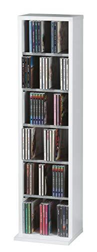 VCM Elementa-Estantería para 102 CDs, Color Blanco, Simulación de la Textura de Madera