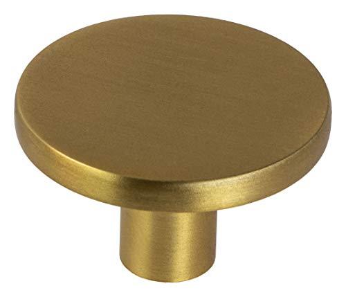 Gedotec muebles diseño Pomo para gabinete de latón Oro - Como   puerta redondo de metal   cajón Ø 41 mm   cajonera Muebles y puertas de cocina   Pomo muebles vintage tornillos - 1 pieza