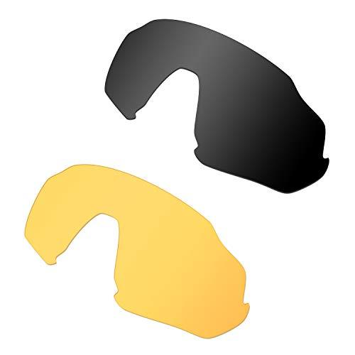 HKUCO Renforcer Rechange Lentille Pour Oakley Flight Jacket Lunettes de soleil Noir/Jaune transparent Polarisé