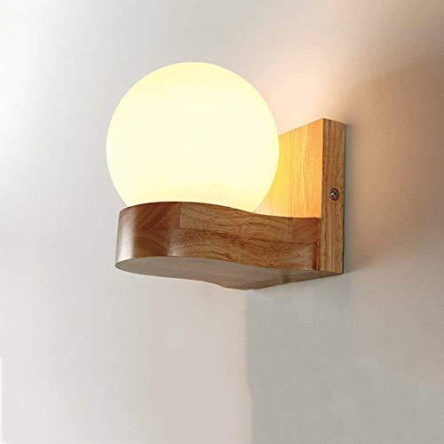 Lámpara de techo Moderno Simple simple Cabeza doble Cabeza Lámpara de pared Dormitorio Cabecera Tablas de vidrio de madera maciza Sala de estar Pasillo Balcón Entrada Pared Luz Decoración (Tamaño: Cab