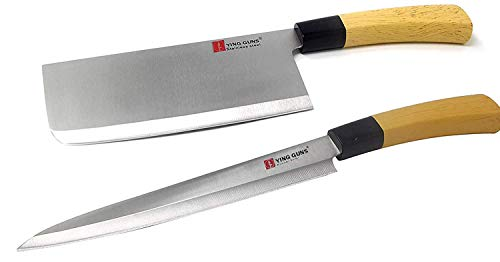 Guns Ceramic Knife Strong & Long (2 Pack) Meat Cleaver Knife + Sashimi Paring Knife for Cutting Slice Dice Steak Meat Chicken Cheese Vegetable Fruits EZ638