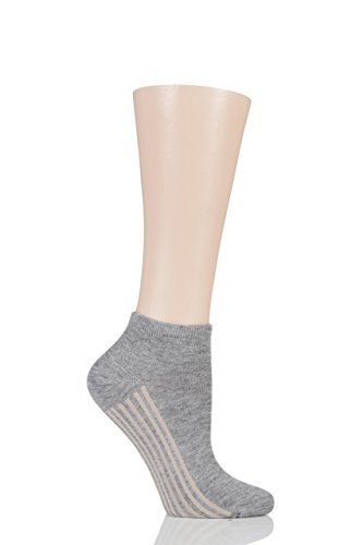 Damen 1 Paar Braintree Solide Jane Bambus & Organic Cotton Trainer Socken Grau Marle One Size