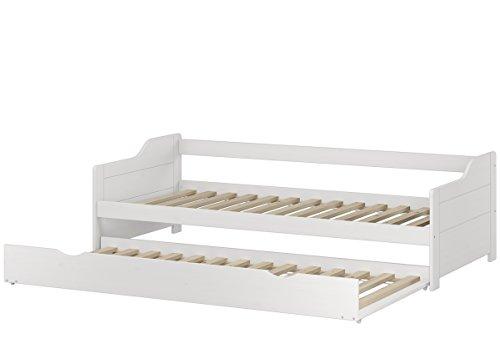 Erst-Holz Lit Banquette gigogne pin Massif Blanc 90x200 avec tiroir, y Compris 2 sommiers à Lattes 60.34-09W