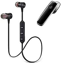 Combo Wireless Magnet Bluetooth Earphone Headphone with Mic Stereo Sound with Music Sports Wireless Bluetooth Headset Compatible with All Android and Phone Devices