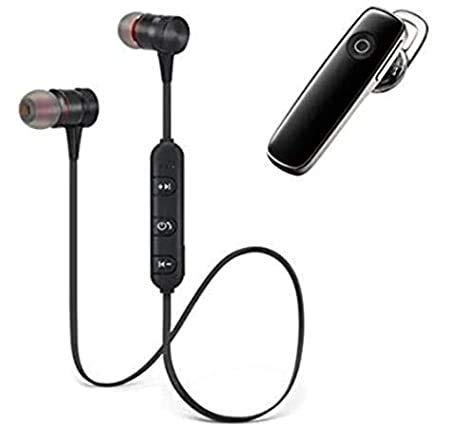 Combo Wireless Magnet Bluetooth Earphone Headphone with Mic, Stereo Sound with Music Sports Wireless Bluetooth Headset Compatible with All Android and Phone Devices