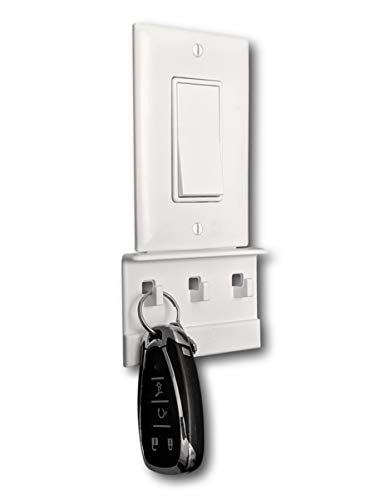 The No-Screwups Key Hook and Face Mask Hook Organizer by Mount Genie White 2-Pack Wall Mount with No Damaging Screws or Tape Installs in Seconds on Any Light Switch Great for Any Room