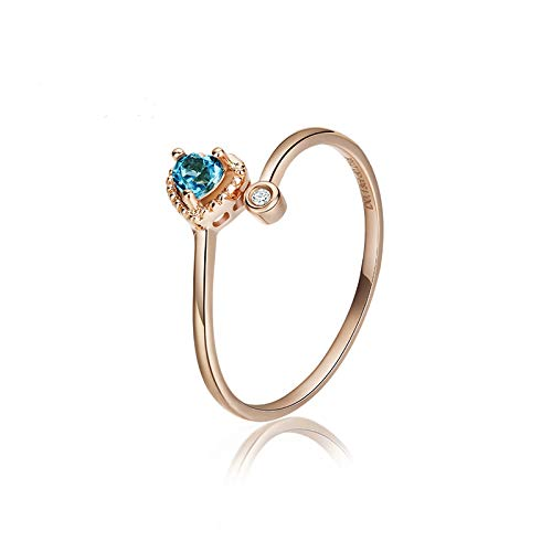 AueDsa Ring Gold Blue Rings 18K Gold for Women Heart Ring with Blue Sapphire Ring Size V 1/2