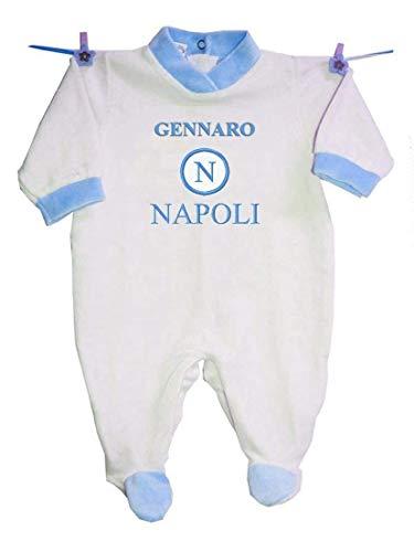 Zigozago - Tutina in ciniglia'NAPOLI+ Nome Bambino' personalizzata con ricamo