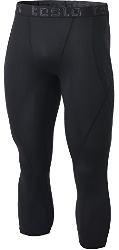TSLA Men's Compression 3/4 Capri Pants Baselayer Cool Dry Sports Running Yoga Tights, Athletic - Black, Medium