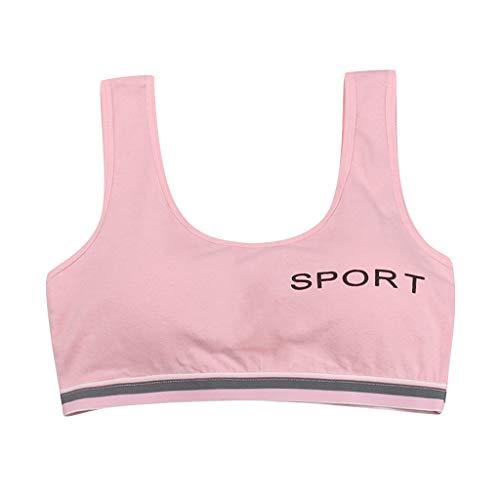 N/AA Amuse-MIUMIU Mädchen Bustier mit Racerback, Klassische BHS Underwear Bustier ohne Bügel Büstenhälter Unterwäsche Damen Bra Sport BH Sporttop für 10-15 Jahre (Pink, 10-15 Jahre)