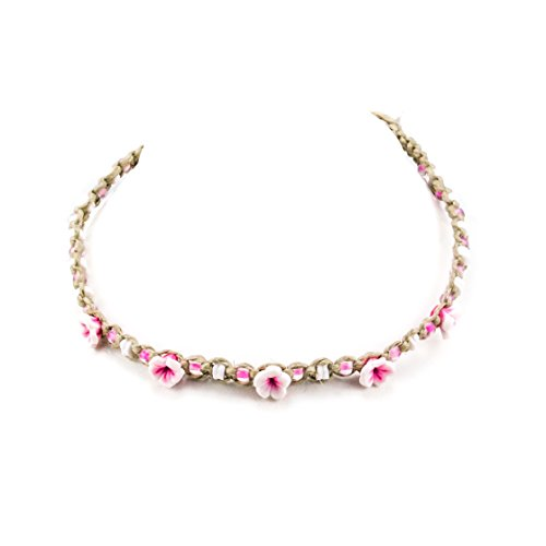 BlueRica Braided Hemp Cord Choker Necklace with Puka Shell Beads & Pink Fimo Flowers