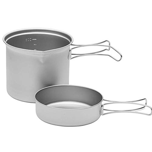 Zyangg-Home Camping Set Pot Outdoor Titanium Picknick Camping Pan Bratpfanne Wok Stockpot Kochgeschirr Kochgeschirr bewegliches Geschirr Set Pot (Color : Silver, Size : One Size)